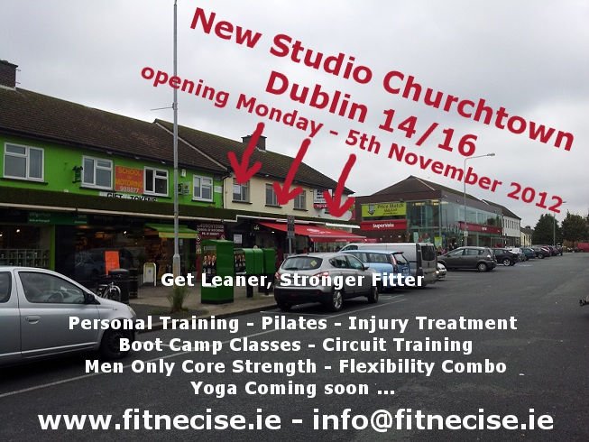 New Pilates Studio - Fitnecise Studio in south Dublin, Chruchtown Opening Monday 5th November 2012