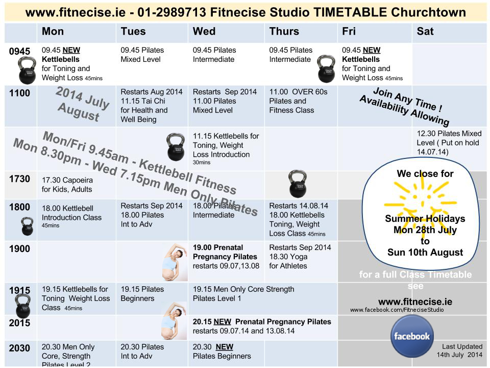Fitnecise Studios Kettlebell Pilates Fitness Classes Timetable in Churchtown Village, South Dublin, Dublin 14, July August 2014, last updated 14th July 2014