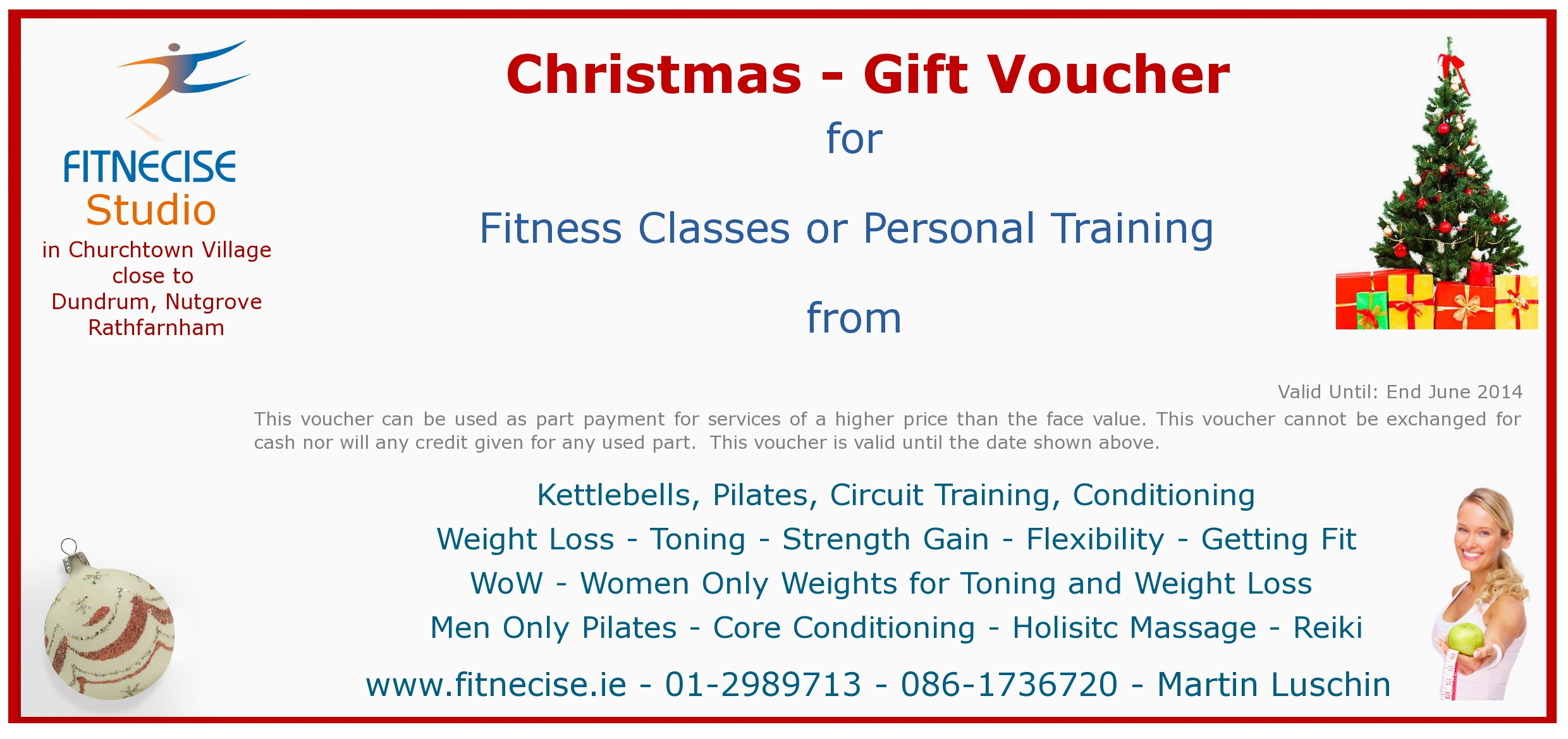 Christmas gift vouchers available in south dublin for Personal trainer gift certificate template