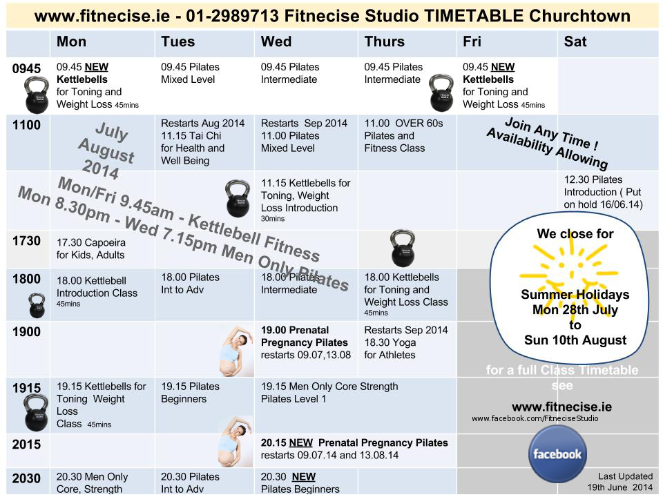 Fitnecise Studio Fitness Exercises Classes Timetable in south Dublin, Dublin 14, Churchtown -  July August 2014, Churchtown last updated 19th June 2014