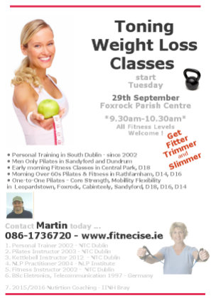 Foxrock Cabinteely Fitness Classes in South Dublin D18 Foxrock Parish Centre, Sandyford Leopardstown D16 Dundrum Rathfarnham