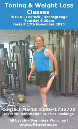 Foxrock Fitness Exercise Toning Circuit Training Kettlebell Classes in South Dublin with Martin close to Deansgrange Stillorgan Cabinteely Park Leopardstown Sandyford Carrickmines